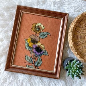 Vintage Handpainted Flower in Custom Wooden Frame with Fabric Backing